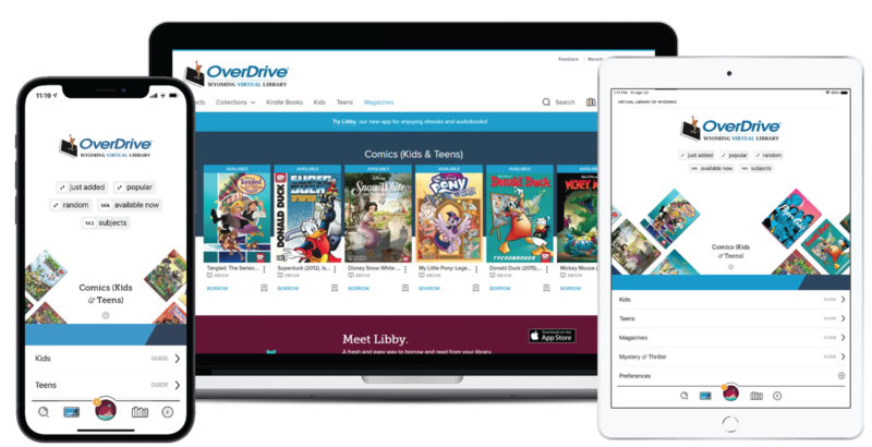 an iphone, mac book, and ipad are displayed, each showing the overdrive app on the screen